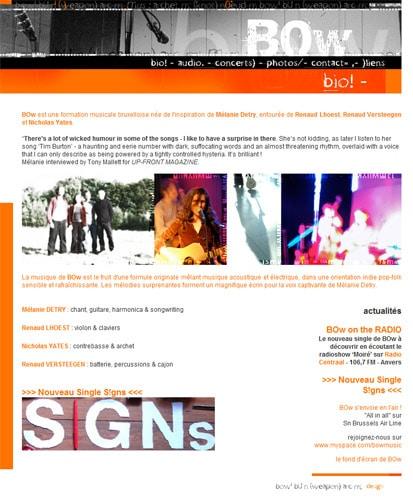 site internet du groupe de musique BOW